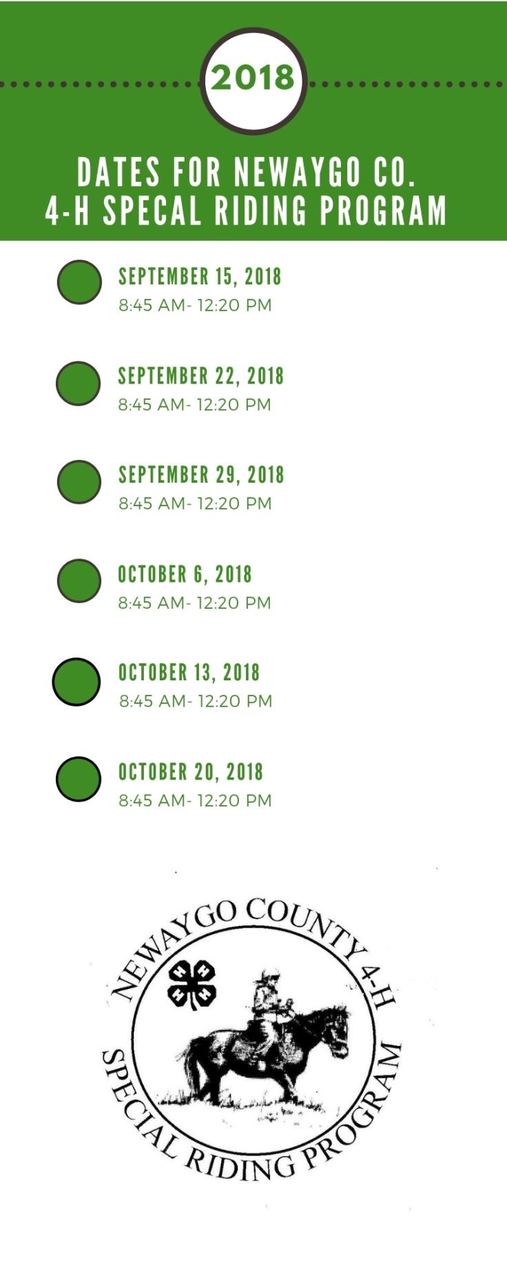 2018 Newaygo County Special Riding Program Fall Dates